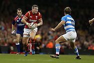 Scott Williams of Wales runs at Ramiro Moyano of Argentina. Under Armour 2016 series international rugby, Wales v Argentina at the Principality Stadium in Cardiff , South Wales on Saturday 12th November 2016. pic by Andrew Orchard, Andrew Orchard sports photography