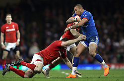 France's Gael Fickou (right) in action during the NatWest 6 Nations match at the Principality Stadium, Cardiff.