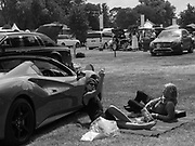 RELAXING NEXT TO SPORTS CAR IN THE CAR-PARK, , Ascot,  22 June 2017