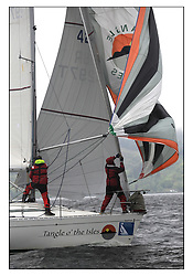 The Brewin Dolphin Scottish Series, Tarbert Loch Fyne..Windy and wet conditions fro all fleets...GBR4297T Tangle O' The Isles Oban SC First 32S5 J & V Gough.
