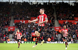 Southampton's Pierre-Emile Hojbjerg (centre) celebrates scoring his side's first goal of the game during the Premier League match at St Mary's Stadium, Southampton.