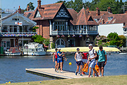 """Henley on Thames, United Kingdom, 2nd July 2018, Monday,   """"Henley Royal Regatta"""",  view, Competitors getting early training in on Henley Reach, River Thames, Thames Valley, England, © Peter SPURRIER,"""