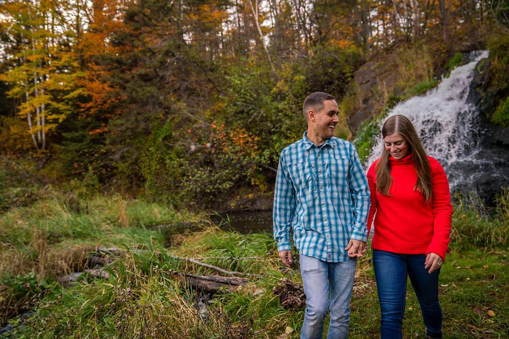 Exploring Wagner Falls near Palmer, Michigan in fall.