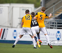 Falkirk's Bob McHugh between East Fife's Declan O'Kane and East Fife's Jonathan Page. Falkirk 3 v 1 East Fife, Petrofac Training Cup played 25th July 2015 at The Falkirk Stadium.