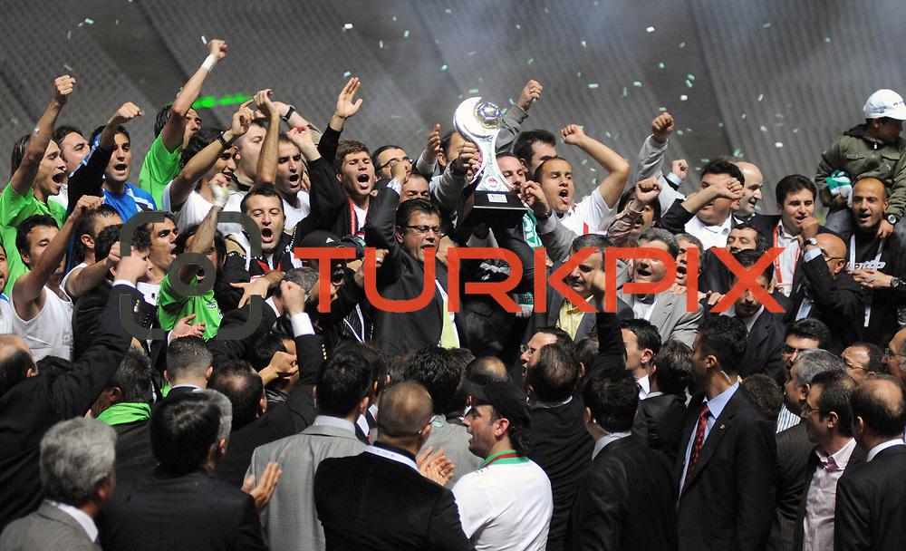 Konyaspor's players celebrate with the BankAsya Cup trophy during their Turkish soccer Play Off final match Altayspor between Konyaspor at Ataturk Olympic Stadium in Istanbul Turkey on Sunday, 23 May 2010. Photo by TURKPIX