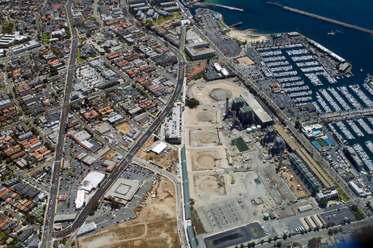 View of the AES Power Plant in Redondo Beach, California, from the air looking southeast. Much of the 52-acre power plant has been downsized, but debates ensue concerning redevelopment plans for the area.