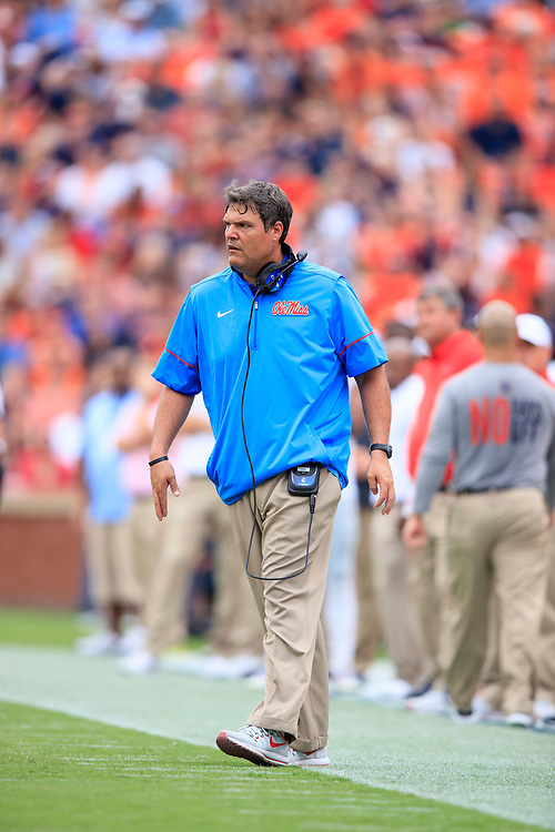 Mississippi Rebels head coach Matt Luke looks on during an NCAA football game against the Auburn Tigers, Saturday, October 7, 2017, in Auburn, AL. Auburn won 44-23. (Paul Abell via Abell Images for Chick-fil-A Peach Bowl)