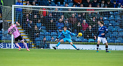 Peterhead's Derek Lyle scoring their first half goal. Half time : Raith Rovers 2 v 1 Peterhead, Scottish Football League Division One played 4/1/2020 at Stark's Park, Kirkcaldy.