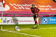 Lincoln City Midfielder Jorge Grant (10) takes a corner during the EFL Sky Bet League 1 match between Lincoln City and Shrewsbury Town at Sincil Bank, Lincoln, United Kingdom on 15 December 2020.