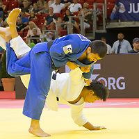 Alan Khubetsov (top) of Russia and Kenya Kohara (bottom) of Japan fight during the Men -81 kg category at the Judo Grand Prix Budapest 2018 international judo tournament held in Budapest, Hungary on Aug. 11, 2018. ATTILA VOLGYI