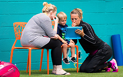 March 23, 2019 - Miami, FLORIDA, USA - Victoria Azarenka of Belarus warms up for her doubles match with son Leo at the 2019 Miami Open WTA Premier Mandatory tennis tournament (Credit Image: © AFP7 via ZUMA Wire)