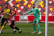 Brentford Goalkeeper David Raya Martin (#1) controls his penalty area during  the EFL Sky Bet Championship match between Brentford and Watford at Brentford Community Stadium, Brentford, England on 1 May 2021.