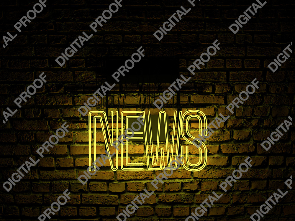 Fake News Neon Sign yellow color news on fake off over a red brick wall at dark - Illustration Computer Rendered - Illustration