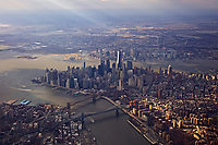 A view of New York City from the air. About 2000 feet above.