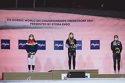 27.02.2021, Oberstdorf, GER, FIS Weltmeisterschaften Ski Nordisch, Oberstdorf 2021, Damen, Langlauf, Sprint Klassisch, Siegerehrung, im Bild v.l.: Silbermedaillen Gewinnerin Platz Maiken Caspersen Falla (NOR), Weltmeisterin und Goldmedaillen Gewinnerin Jonna Sundling (SWE), Bronzemedaillen Gewinnerin Anamarija Lampic (SLO) // f.l.: Silver medallist Maiken Caspersen Falla of Norway World Champion and gold medallist Jonna Sundling of Sweden bronze medallist Anamarija Lampic of Slovenia during the Award Ceremony for the women Cross Country Sprint Classi competition of the FIS Nordic Ski World Championships 2021. in Oberstdorf, Germany on 2021/02/27. EXPA Pictures © 2021, PhotoCredit: EXPA/ JFK
