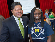 Houston ISD Superintendent Richard Carranza poses for photograph with a student during a stop of the Listen & Learn tour at Marshall Elementary School, September 20, 2016.