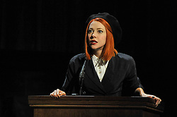"""© Licensed to London News Pictures. 20/10/2017. London, UK. Catherine Steadman as Romaine, on the witness stand.  Photocall for """"Witness for the Prosecution"""", by Agatha Christie, directed by Lucy Bailey, at London County Hall.  The play opens 23 October. Photo credit : Stephen Chung/LNP"""