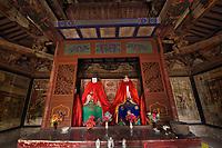 Interior of the small Taoist temple Lü Lu Shen Xi, near Beiyue Hengshan Mountain, Datong, Hunyuan County, Shanxi Province, China