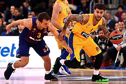 November 1, 2018 - Barcelona, Catalonia, Spain - Scottie Wilbekin and Kevin Pangos during the match between FC Barcelona and Maccabi Tel Aviv, corresponding to the week 5 of the Euroleague, played at the Palau Blaugrana, on 01 November 2018, in Barcelona, Spain. (Credit Image: © Joan Valls/NurPhoto via ZUMA Press)