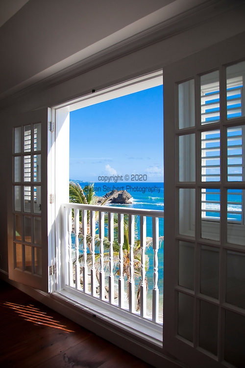 The Atlantis Hotel which overlooks Tent Bay in Bathsheba, St. Joseph Parish, Barbados. Pictured here is the Soup Bowl room, which offers stunning views of the Atlantic Coast of the island.