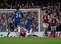 Football - 2019 / 2020 Premier League - Chelsea vs. Burnley<br /> <br /> James Tarkowski (Burnley FC) times his tackle to prevent Tammy Abraham (Chelsea FC) breaking on goal at Stamford Bridge <br /> <br /> COLORSPORT/DANIEL BEARHAM