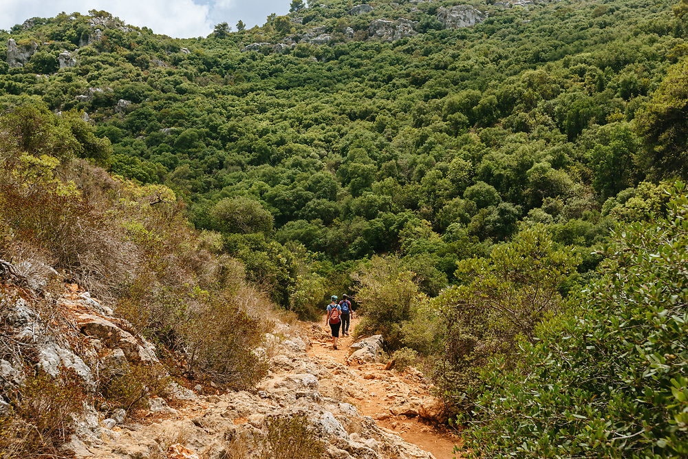 Hikers walk along a trail at Mount Carmel National Park, also called 'Little Switzerland' in northern Israel