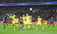 Paris Saint-Germain Edinson Cavani heads at goal during the Champions League match between Paris Saint-Germain and Chelsea at Parc des Princes, Paris, France on 17 February 2015. Photo by Phil Duncan.