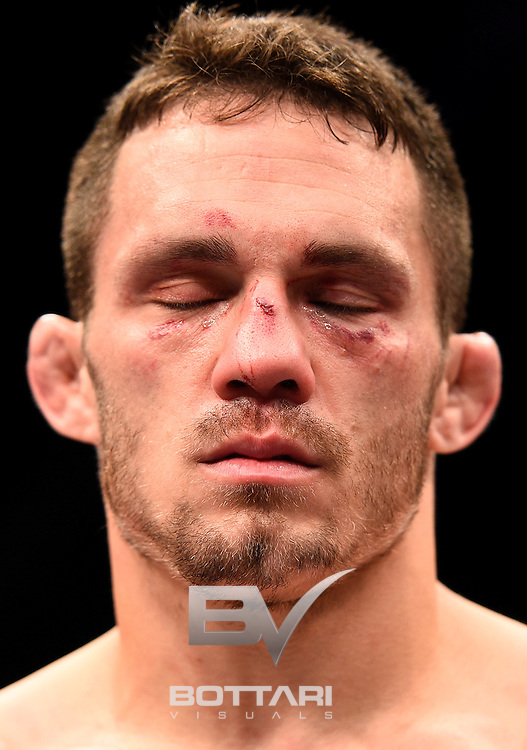 LAS VEGAS, NV - DECEMBER 03:  Jake Ellenberger reacts to his TKO loss due to injury to Jorge Masvidal during The Ultimate Fighter Finale event inside the Pearl concert theater at the Palms Resort & Casino on December 3, 2016 in Las Vegas, Nevada. (Photo by Jeff Bottari/Zuffa LLC/Zuffa LLC via Getty Images)