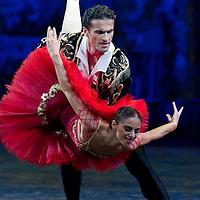 Lali Kandelaki and Vasil Akhmeteli perform their dance during the World Stars Ballet Gala held in the Budapest Opera House in Budapest, Hungary, Saturday, 25. September 2010. ATTILA VOLGYI