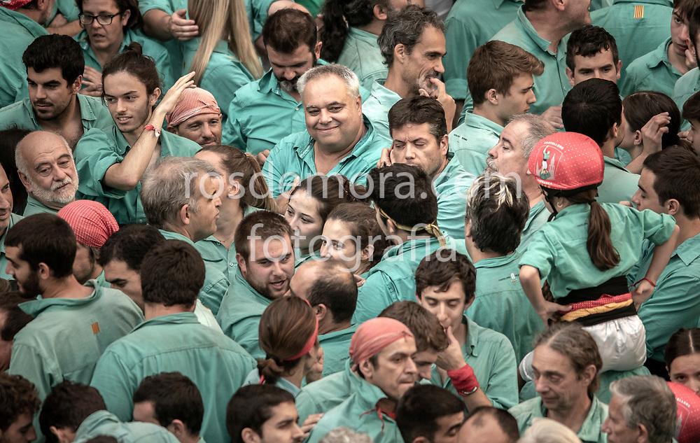 Members of Castellers de Vilafranca celebrate one of their best performances ever, in the last performance of the season in Vilafranca del Penedès,Barcelona, Spain. 1st Nov 2019.