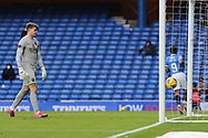 Max Stryjek (Livingston) is helpless as Jermain Defoe (Rangers) scores the second during the Scottish Premiership match between Rangers and Livingston at Ibrox, Glasgow, Scotland on 25 October 2020.