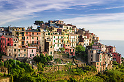 Evening light on Corniglia, Cinque Terre, Liguria, Italy