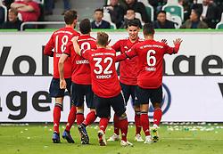 WOLFSBURG, Oct. 21, 2018  Bayern Munich's James Rodriguez (2nd R) celebrates scoring with teammates during a German Bundesliga match between Wolfsburg and Bayern Munich, in Wolfsburg, Germany, on Oct. 20, 2018. Bayern Munich won 3-1. (Credit Image: © Xinhua via ZUMA Wire)