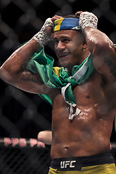 September 16, 2017 - Pittsburgh, Pennsylvania, USA - September 16, 2017: Gilbert Burns celebrates after defeating Jason Saggo by knock out in the second round during UFC Fight Night at PPG Paints Arena in Pittsburgh, Pennsylvania. (Credit Image: © Scott Taetsch via ZUMA Wire)
