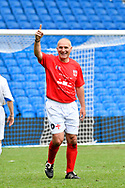 Paul Walton of England over 50's celebrates scoring a goal to give a 2-0 lead to the home team during the world's first Walking Football International match between England and Italy at the American Express Community Stadium, Brighton and Hove, England on 13 May 2018. Picture by Graham Hunt.