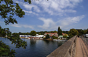 Henley on Thames, Henley. UK.<br /> <br /> 2005 Henley Royal Regatta, Henley on Thames, ENGLAND. <br /> <br /> Looking across the River, from the Henley Bridge. towards the tented boat area and Leander Club.<br /> <br /> Tuesday 28.06.2005. Henley Royal Regatta,GV's Henley Regatta<br /> <br /> [Mandatory Credit Peter Spurrier/ Intersport Images] ...........Rowing Courses, Henley Reach, Henley, ENGLAND. HRR