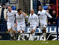 Photo: Jed Wee.<br />Bolton Wanderers v West Ham United. The Barclays Premiership. 11/03/2006.<br /><br />Bolton celebrate. L to R, Kevin Nolan, Gary Speed, Stelios Giannakopoulos and Ricardo Vaz Te.