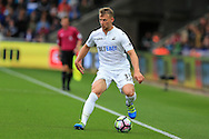 Stephen Kingsley of Swansea city in action. Premier league match, Swansea city v Hull city at the Liberty Stadium in Swansea, South Wales on Saturday 20th August 2016.<br /> pic by Andrew Orchard, Andrew Orchard sports photography.
