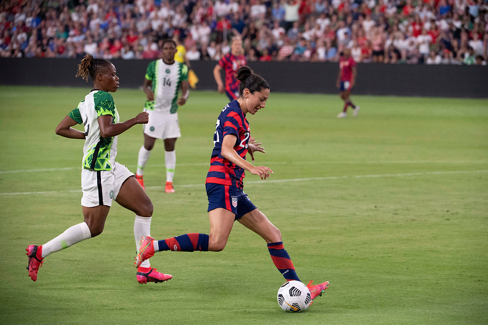 USA forward CHRISTEN PRESS (23) heads to the goal in the second half as the US Women's National Team (USWNT) beats Nigeria, 2-0 in the inaugural match of Austin's new Q2 Stadium. The U.S. women's team, an Olympic favorite, is wrapping up a series of summer matches to prep for the Tokyo Games.