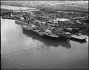 """Ackroyd 14339-2 """"Schnitzer Industires. Aerials of barge with whirly cranes. December 20, 1966"""""""