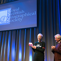 The Royal Scottish Geographical Society present the RSGS Livingstone Medal to Annie Lennox in recognition of her positive contribution and dedication to raising awareness of the global HIV/AIDS pandemic…..Presented by Prof Roger Crofts, RSGS Chairman<br /> Picture by Graeme Hart.<br /> Copyright Perthshire Picture Agency