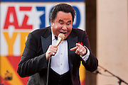 14 FEBRUARY 2012 - PHOENIX, AZ:    WAYNE NEWTON performs in Phoenix, AZ, Tuesday. Newton, who is originally from Phoenix, performed in front of the state capitol for about an hour Tuesday afternoon at the Arizona centennial. The state of Arizona marked 100 years of statehood with a free party in front of the capitol.   PHOTO BY JACK KURTZ
