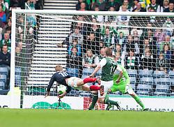 Falkirk's Jay Fulton scoring their second goal..Half time : Hibernian 0 v 3 Falkirk, William Hill Scottish Cup Semi Final, Hampden Park..©Michael Schofield..