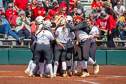NORMAL, IL - April 06: The dugout clears and lines up at home plate to congratulate Shannon Felde on her homerun hit during a college women's softball game between the ISU Redbirds and the University of Northern Iowa Panthers on April 06 2019 at Marian Kneer Field in Normal, IL. (Photo by Alan Look)