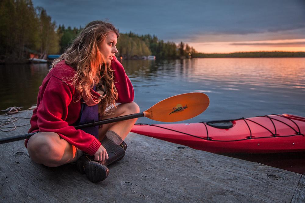 Kayaker, Holly Furman, at Flat Lake, just north of Anchorage