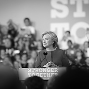 Raleigh, NC - November 7,  2016: Hillary Clinton address the crowd inside the Reynolds Coliseum on the campus of North Carolina State. This is the final stop of the campaign before election day. CREDIT: LOGAN R CYRUS