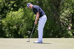 May 18, 2018 - Dallas, TX, U.S. - DALLAS, TX - MAY 18:  Jordan Spieth of the United States attempts his birdie putt on #9 during the second round of the 50th anniversary AT&T Byron Nelson on May 18, 2018 at Trinity Forest Golf Club in Dallas, TX.  (Photo by Andrew Dieb/Icon Sportswire) (Credit Image: © Andrew Dieb/Icon SMI via ZUMA Press)
