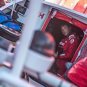 Leg 02, Lisbon to Cape Town, day 11, on board MAPFRE, Antonio Cuervas?mons en el Hatch antes de salir a su guardia. Photo by Ugo Fonolla/Volvo Ocean Race. 15 November, 2017