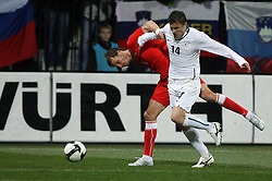 David Rozenhal of Czech Republic vs Zlatko Dedic of Slovenia at the 8th day qualification game of 2010 FIFA WORLD CUP SOUTH AFRICA in Group 3 between Slovenia and Czech Republic at Stadion Ljudski vrt, on March 28, 2008, in Maribor, Slovenia. Slovenia vs Czech Republic 0 : 0. (Photo by Vid Ponikvar / Sportida)