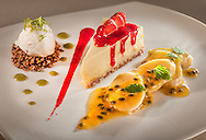 Raspberry Sauce, Lime gel, vanilla ice cream, banana infused passion fruit coulis.<br /> *it is not in the menu any longer